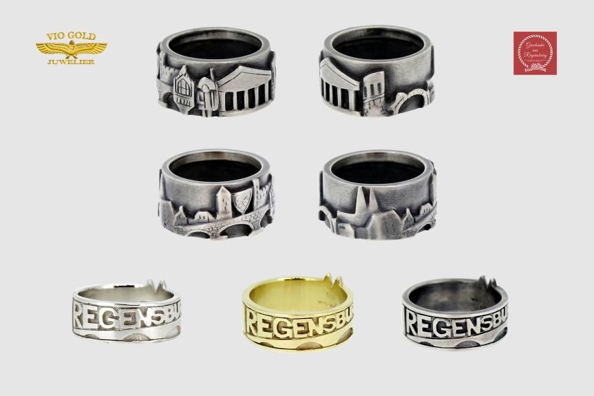 Ringe mit verschiedenen Gravierungen bezüglich der Domstadt Regensburg